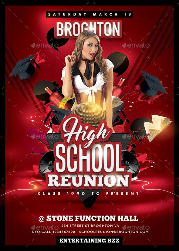 High School Reunion  School Reunion Party Flyer And Font Logo