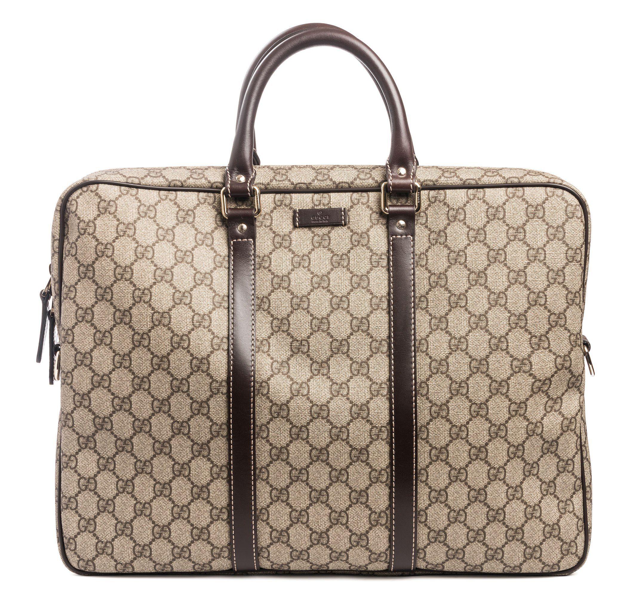 76d93b91d1b Gucci Men s Briefcase Beige Ebony GG Coated Canvas 201480 FCIEG 9643 ...