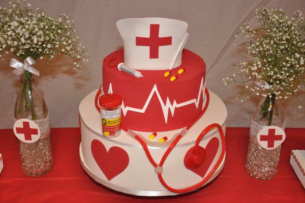 Bolo de Enfermagem Bolo Temático Nurse Party Formatura de Enfermagem Formaturas  -> Decoração Festa Enfermeiro