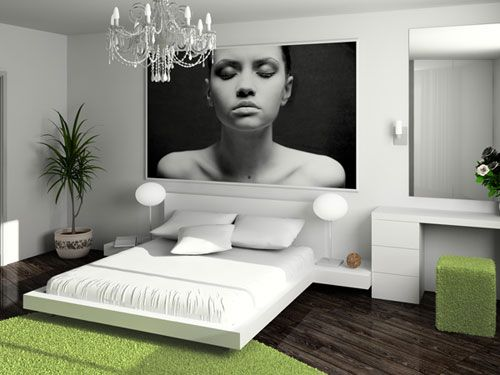 Stimmige Schlafzimmer Einrichtung in Weiß und Grün Schlafzimmer - wohnzimmer braun weis grun
