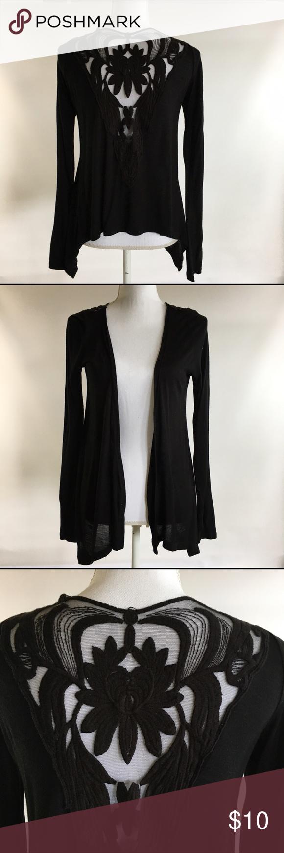 Papaya S Black Thin Knit Cardigan Lace Back | Them, Sweater ...
