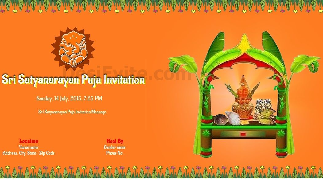 Free Satyanarayan Puja Invitation Card Online Invitations Invitation Card Sample Invitation Cards Online Invitation Card
