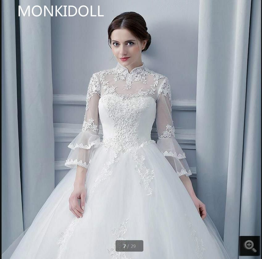 Free Shipping  Buy Best Free shipping ball gown 3 4 puff sleeve high neck wedding  dress open back sexy beading sequined cheap wedding dress custom made ... 315411a8d33f