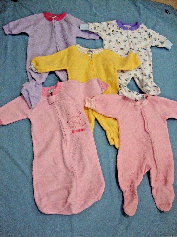 2a5101321ed1 EUC 5 Pair Girls Size 0-6 Month Pajamas Polyester Fleece