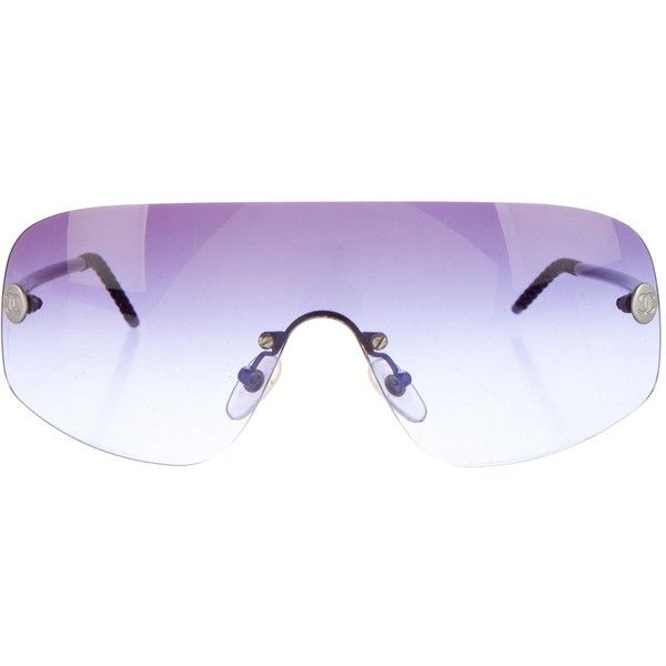 dbb4d47672 Pre-owned Chanel Rimless Shield Sunglasses ( 175) ❤ liked on Polyvore  featuring accessories