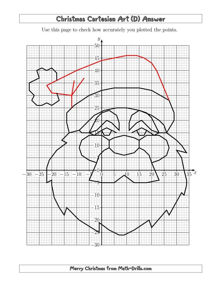 The Christmas Cartesian Art Santa (D) Math Worksheet
