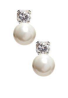 Lauren Ralph Cubic Zirconia White Pearl Clip Earrings