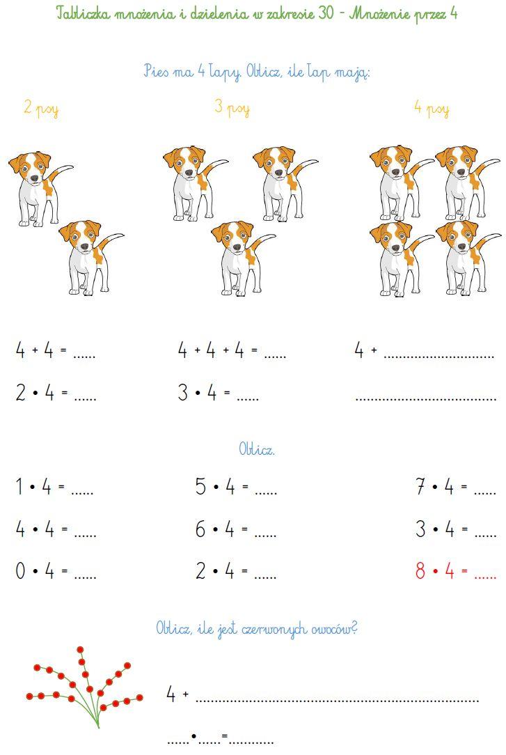 Blog Edukacyjny Dla Dzieci Tabliczka Mnozenia I Dzielenia W Zakresie 30 Mnozenie Przez 4 Science For Kids Kids Education Education