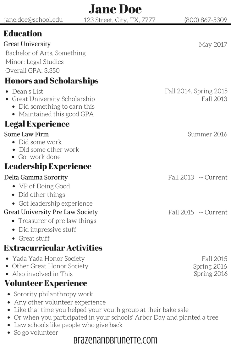 What To Put On A Law School Application Resumé Getting