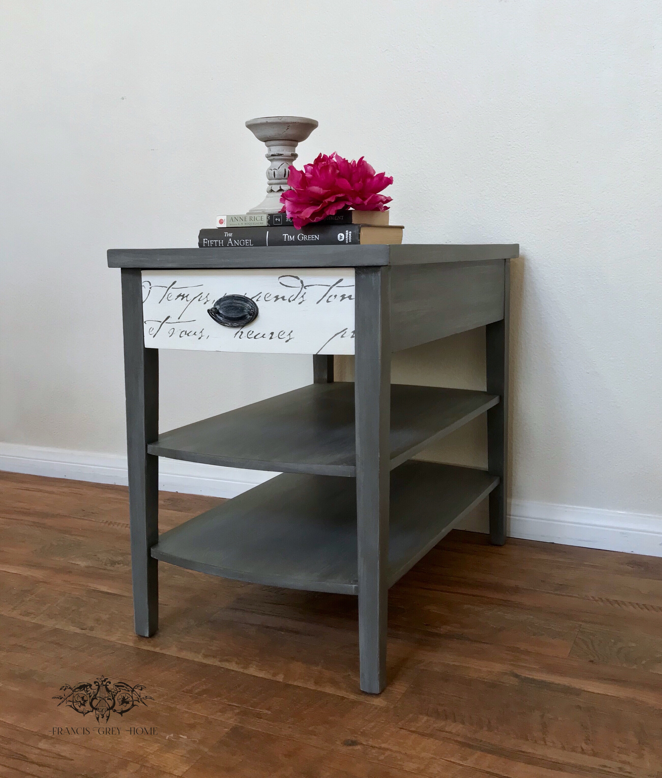 Vintage End Table Grey End Table Mersman End Table Painted End