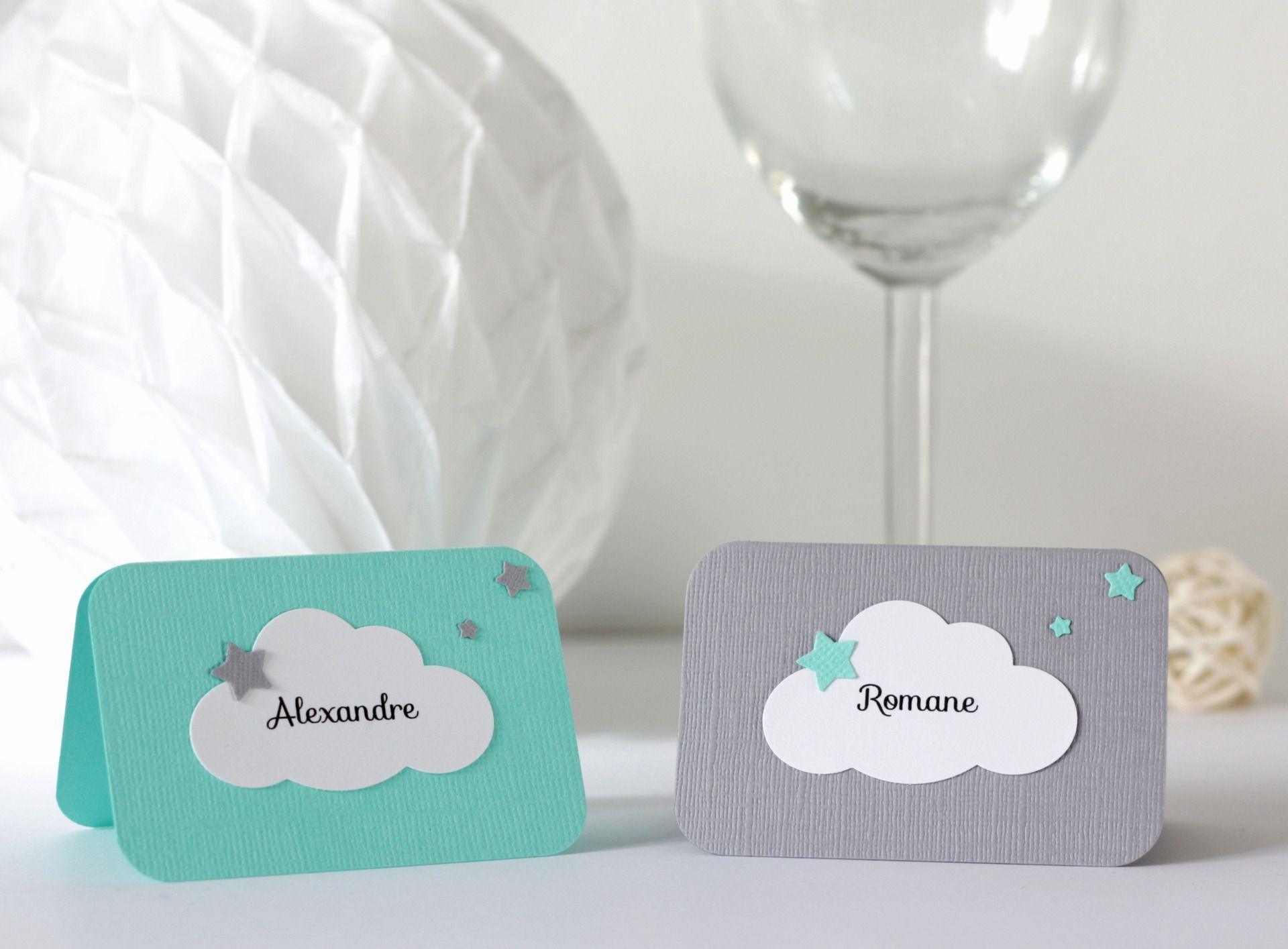 10 marque places nuage et toiles pour bapt me anniversaire coloris gris et vert d 39 eau. Black Bedroom Furniture Sets. Home Design Ideas