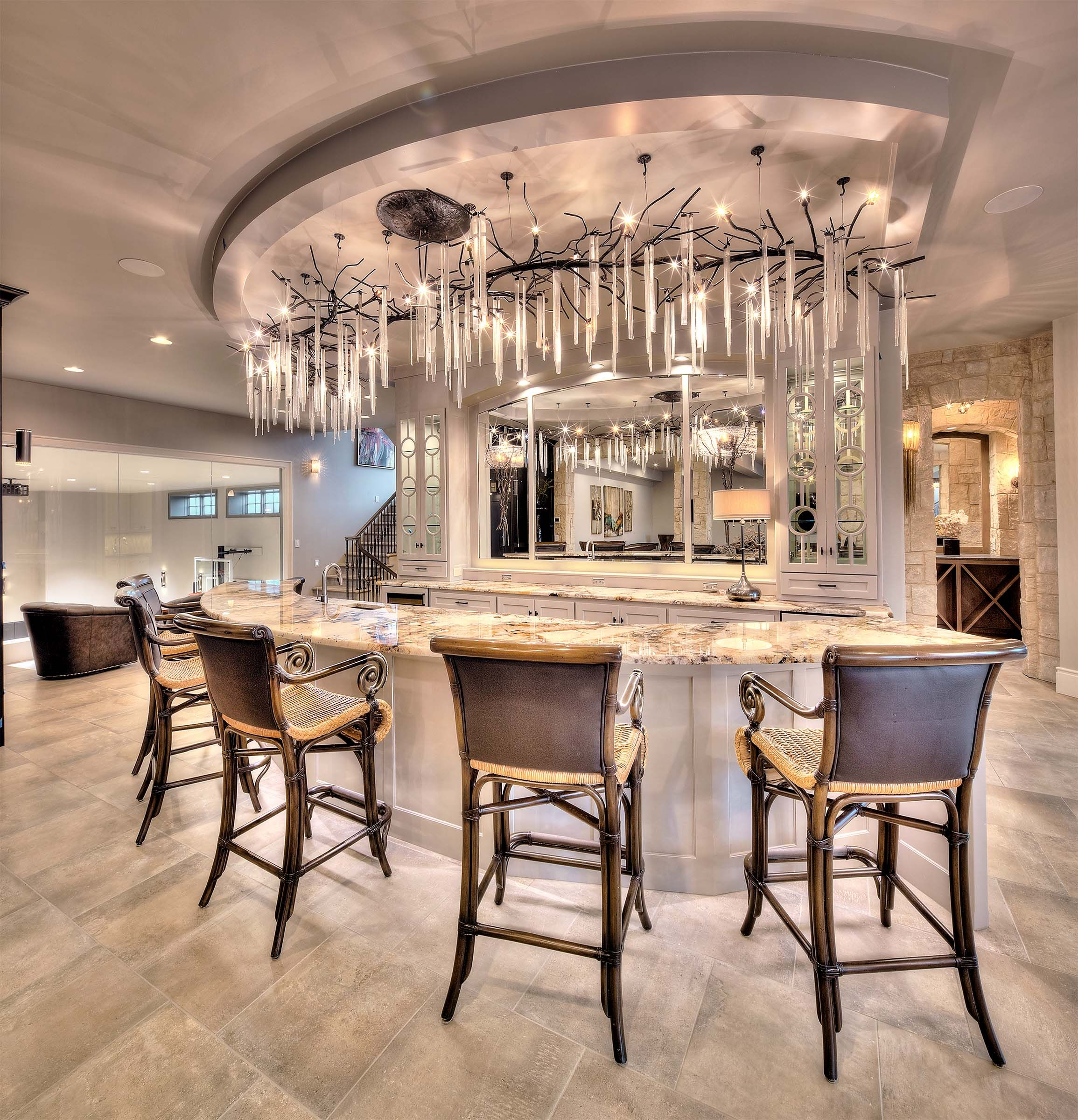 Kitchen on lower level bar seating focal point chandelier kitchen on lower level bar seating focal point chandelier mirrored wall granite aloadofball Gallery