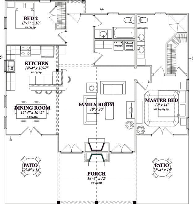 House Plan 1070 00129 Lake Front Plan 1 375 Square Feet