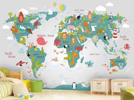 World map wall mural in teal and light gray children map with mind world map wall mural in teal and light gray children map with gumiabroncs Gallery