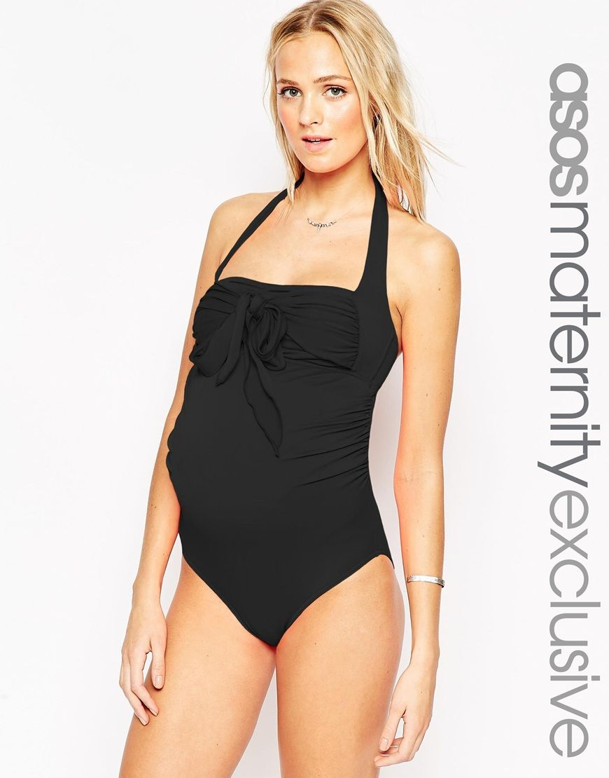 7a0331ff9d3ea Maternity Swimsuit With Bow Detail | BABY | Maternity swimsuit, Asos ...