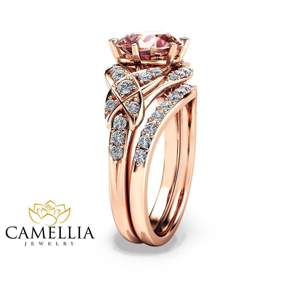 camellia rings halo forever brilliant round ring gold rose engagement pin moissanite