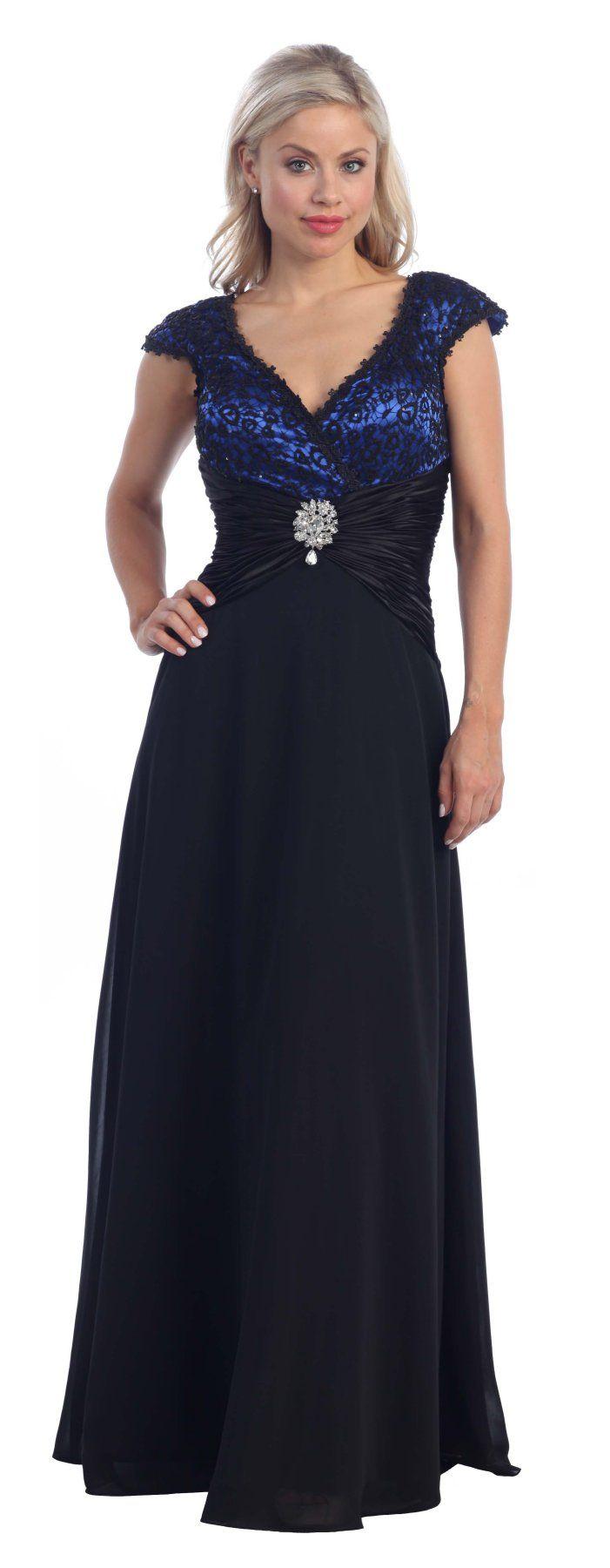 V backneckline royal blue dress black cap sleeves lace overlay gown