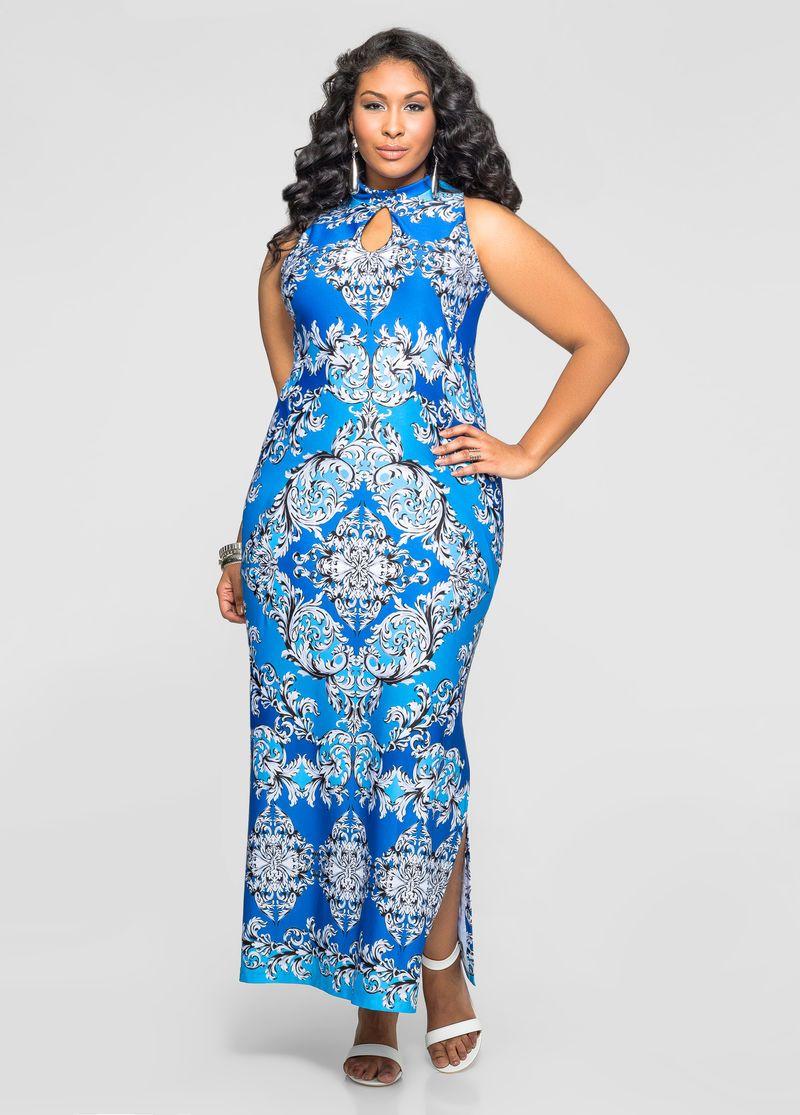 Printed Mock Neck Maxi Dress Plus Size Skirts Ashley Stewart Plus Size Dresses Plus Size Outfits Dresses [ 1115 x 800 Pixel ]
