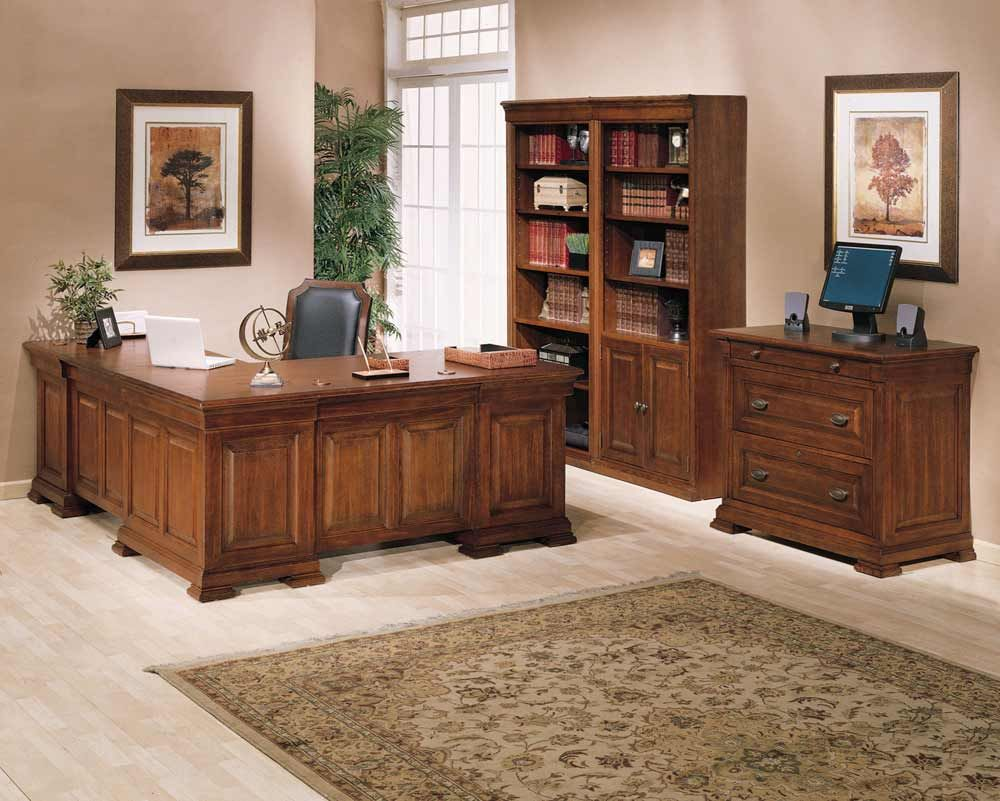 traditional brown wood l shaped office table desks furniture design ideas for home with beautiful rectangle pattern wood carving craft decorating and fresh