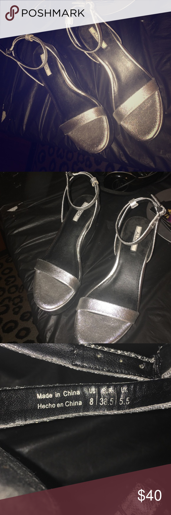 Never worn Silver metallic platform from Aldo sz 8 Never worn because they were a size too small on me but I grabbed them when I saw them because they were just too cute. I am normally a size 9 and upon closer look these are an eight. Aldo Shoes