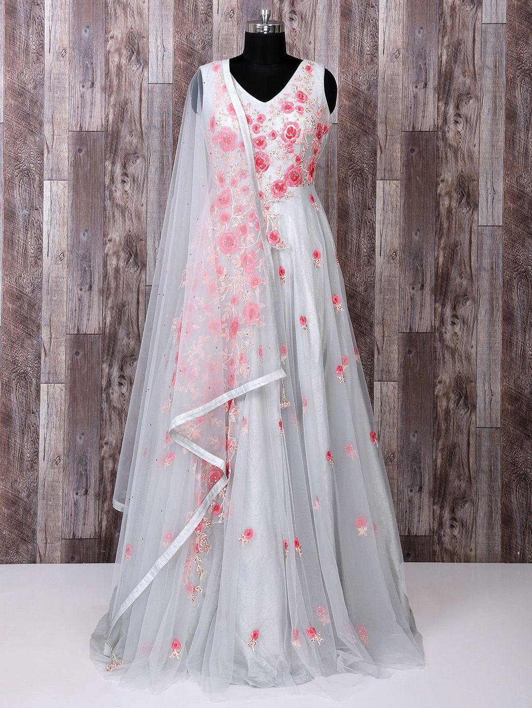 385fe349fa67 Designer Grey Net Anarkali Suit For Party