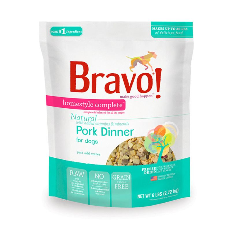 Bravo freeze dried raw diets offer the perfect combination of nutrition and convenience. There's no need for freezing or refrigeration, so you can serve your doggie a great-tasting, nourishing meal anytime, anywhere! The freeze drying process removes the water from meat, poultry and produce while retaining every vital nutrient in its original, bioavailable form. These uniquely delicious recipes are designed to provide complete and balanced nutrition for dogs of all ages and breeds.