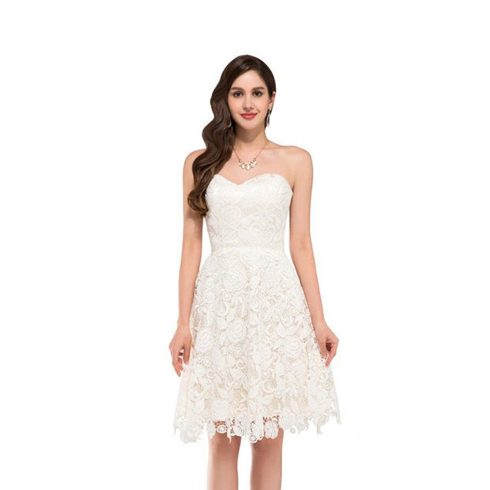 Beautiful Ivory Vintage Lace Short Wedding Dress - Uniqistic.com ...