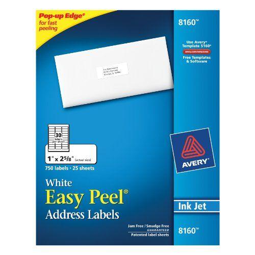 Avery Easy Peel Address Labels, Inkjet Printers, White, 1 x 25/8