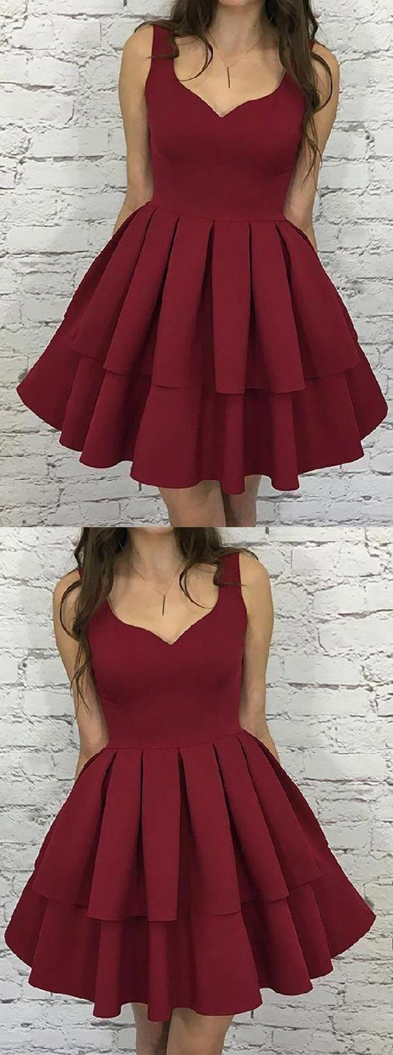 Simple Burgundy V Neck Cheap Homecoming Dresses 2018 Cm470 Homecomingdressespretty Dresses Short Ropa Hermosa Vestidos Para Chicas