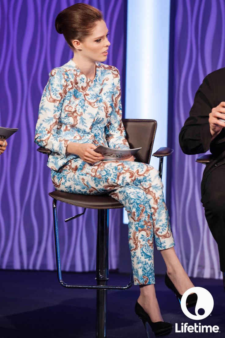 Loving guest judge, Coco Rocha's patterned tuxedo pantsuit!