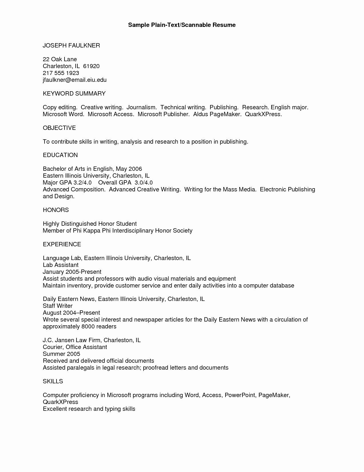 23 Plain Text Resume Example In