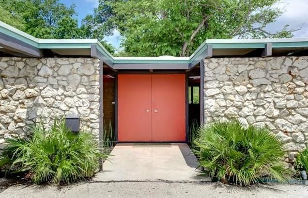 Mid-Century Modern Entry Fort Worth Real Estate