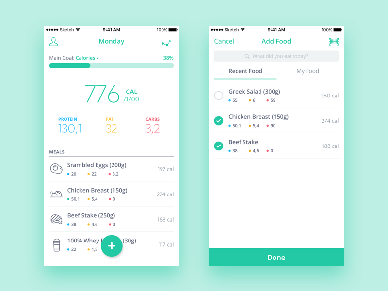 Food and nutrition tracker app