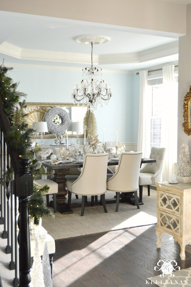 2015 Christmas Home Tour  Silver Christmas Neutral And Room Impressive Christmas Dining Room Design Decoration