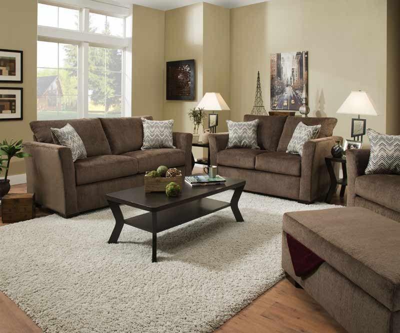 Simmons Upholstery Elan Coffee 2 Piece Queen Sleeper Sofa Set