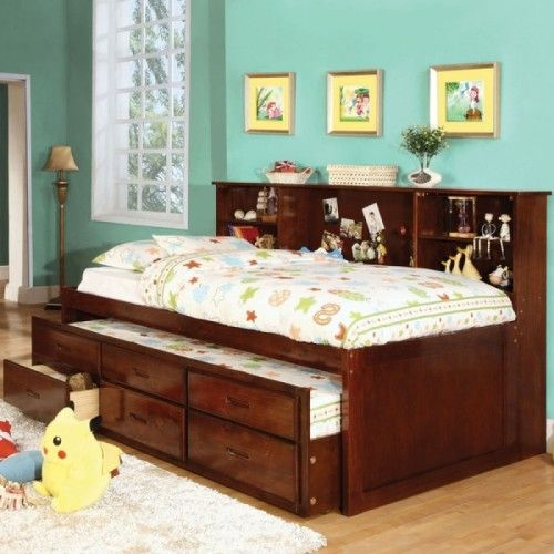 furniture of america percius cherry captain bed with trundle and twin captains bed with bookcase headboard