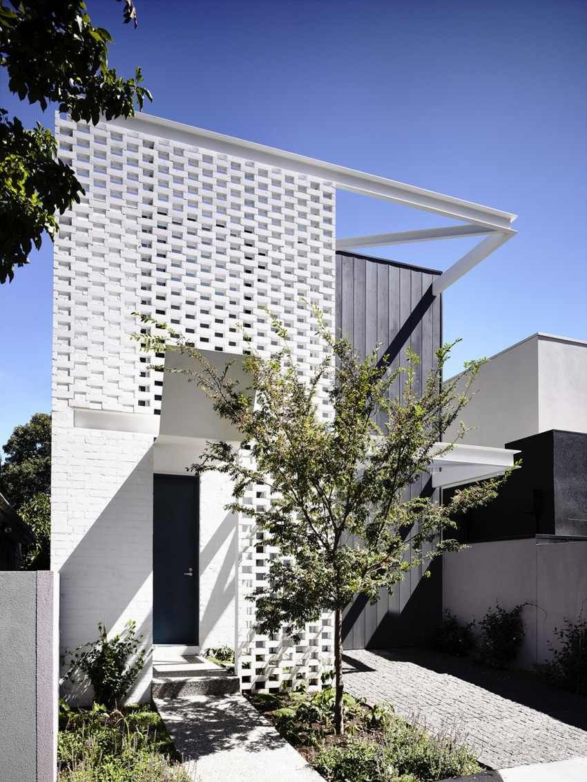 Architecture Modern Perforated Brick Entrance Screen