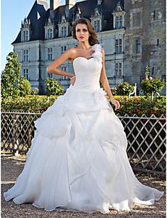Superb Ball Gown One Shoulder Floor Length Organza Wedding Dress with Flower Pick Up Side Draped by LAN TING BRIDE