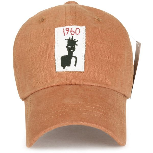 1b9feafb Jean-Michel Basquiat 1960 Self-portrait Rubber Logo Adjustable Hat...  (196.780 IDR) ❤ liked on Polyvore featuring accessories, hats, logo  baseball caps, ...