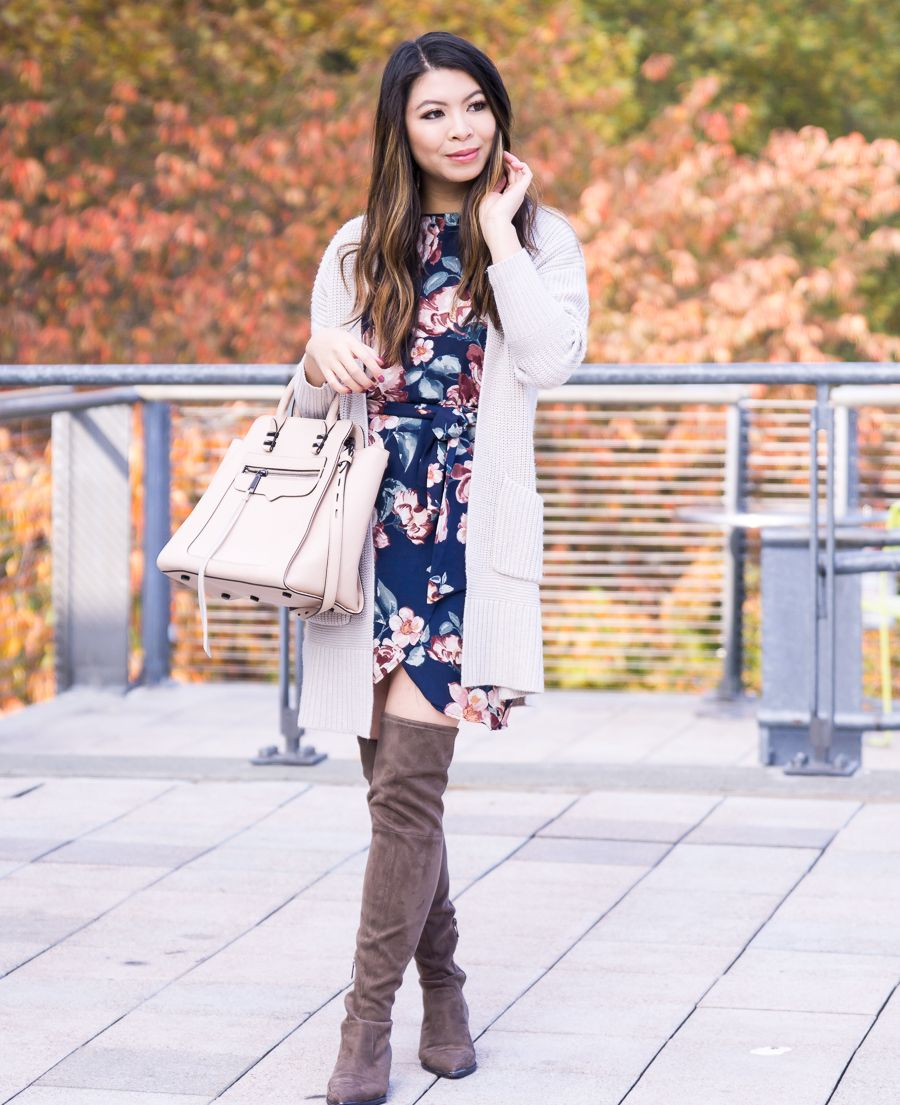 Fall Outfit How To Make A Summer Dress Work For Fall Dark Floral Dress Chunky Cardigan Over T Summer Work Dresses Casual Fall Outfits Trendy Outfits Winter [ 1105 x 900 Pixel ]
