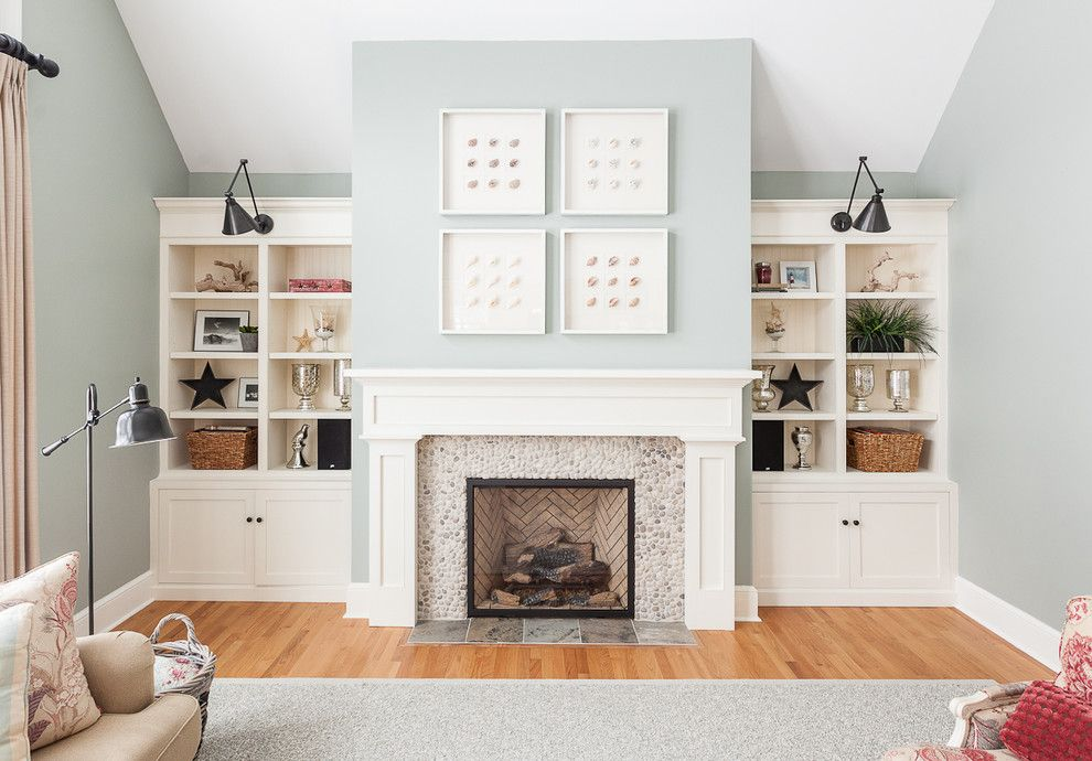 White Fireplace Blue Walls White Fireplace Mantel Living Room
