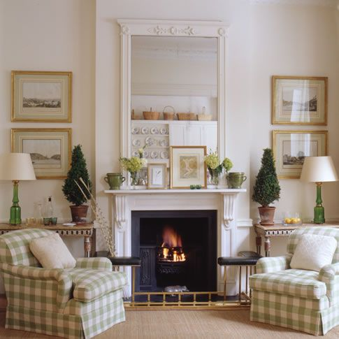 like the sage buffalo check will be using for drapes, the sisal rug, brass frames and black accents...
