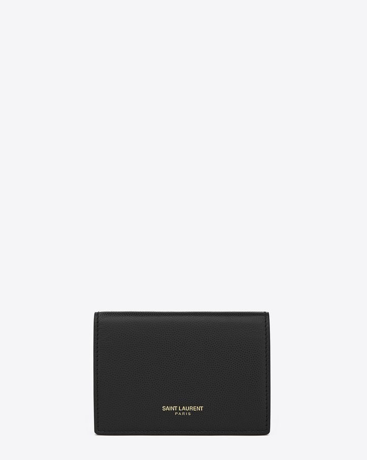 ee2dbd57a5b CLASSIC SAINT LAURENT business CARD CASE WITH EMBOSSED SAINT LAURENT  SIGNATURE. (Textured leather)