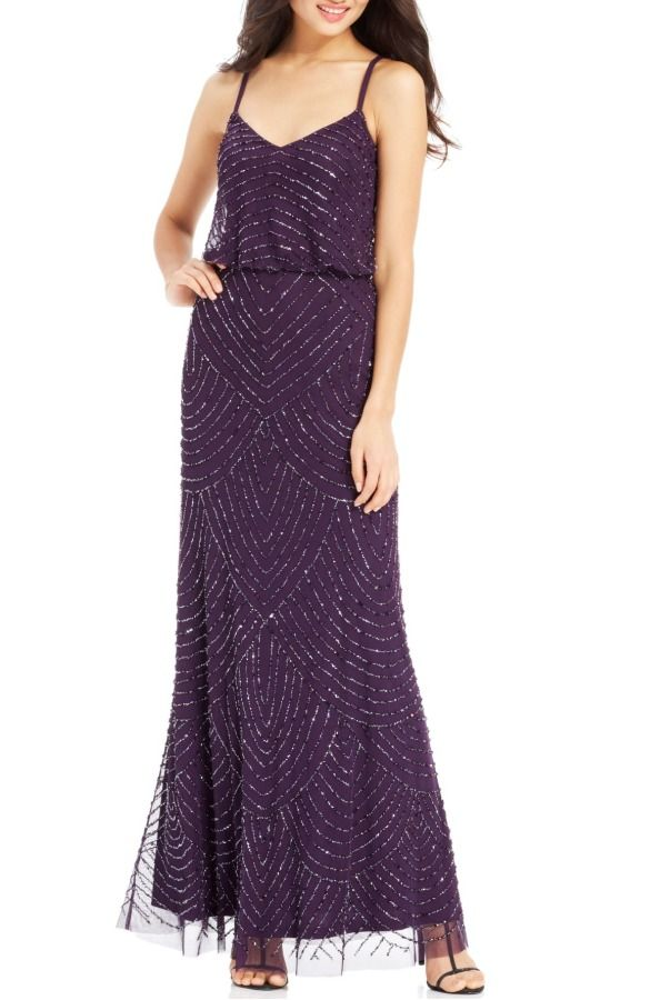 ADRIANNA PAPELL Purple Beaded Blouson Gown Amethyst spaghetti strap ...