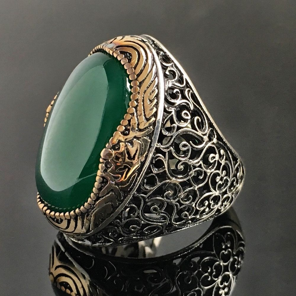 925 Sterling Silver Mens Ring Green Onyx Unique Handmade