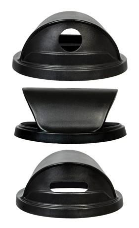 Black Hooded Dome Top Recycling Lid For 55 Gallon Trash Cans Trash