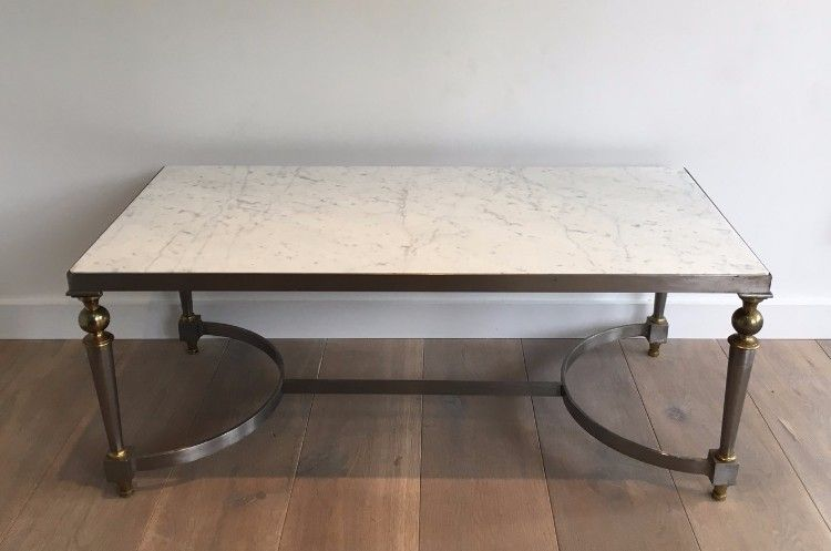Very Nice Brushed Steel And Brass Coffee Table With Marble Top Circa 1940 Brass Coffee Table Marble Top Coffee Table Marble Top
