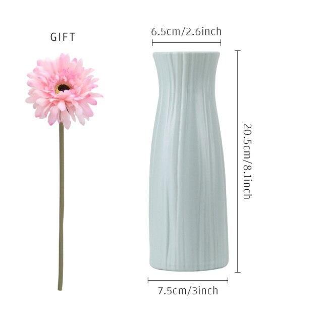 Photo of Plastic Flower Vase Home Decoration Pot Artificial Flower Decor With Vase White Mitation Ceramic Flower Basket Nordic Style Gift – 17