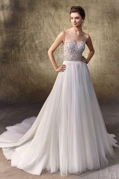 c7eb85823975 Romantic wedding dress idea - beaded Chantilly lace and tulle bodysuit with  bateau illusion over sweetheart