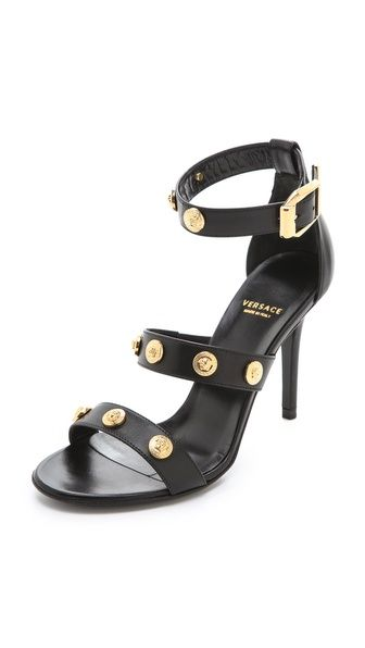 Versace Black Heeled Sandals   Black